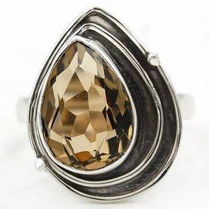 Jewelry - Natural Smokey Topaz 925 Ring Size 7.5